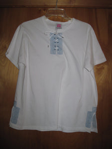 Embroidered short sleeve T-Shirt with laced up neckline and embroidered on each side at the  Hem Line