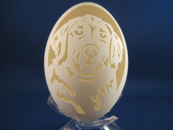 Retriever Dog carved on a Goose Egg with clear plastic stand. Great Dog lovers gift.
