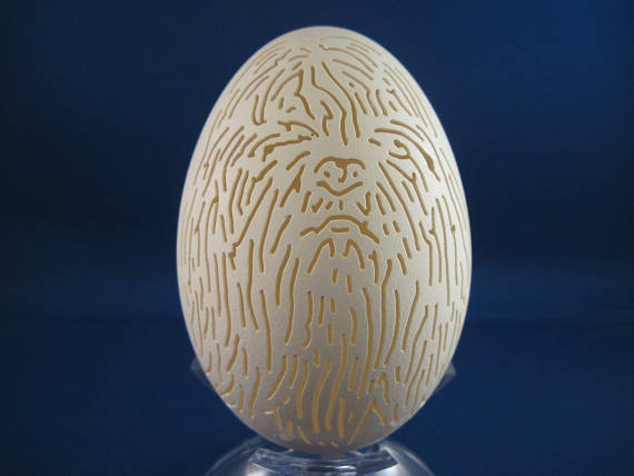Shih Tzu Dog carved on a Goose Egg with clear plastic stand. Great Dog lovers gift.
