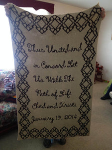 Wedding Blanket with names and date of wedding. This one is Tan and Brown acrylic but you can choose the colors you would like.