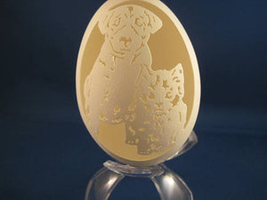 Dog and Cat carved on a Goose Egg with clear plastic stand. Great Dog and Cat lovers gift.