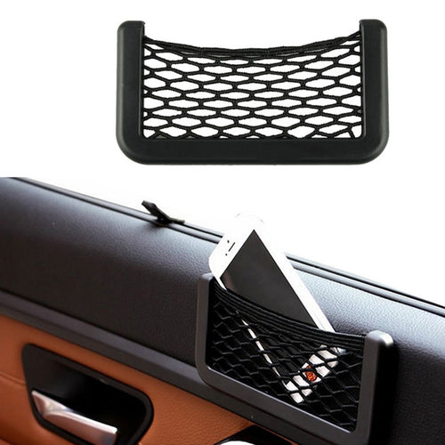 Super Deal 2016 15X8cm Automotive Bag With Adhesive Visor Car Net Organizer Pockets Net Free Shipping 01
