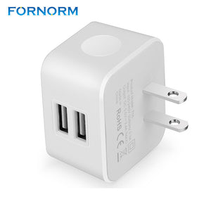 FORNORM 2 USB Ports EU Plug Wall Charger 5V 3.4A Universal Travel Adapter For IPhone Samsung IPad Cameras Mp3 Player