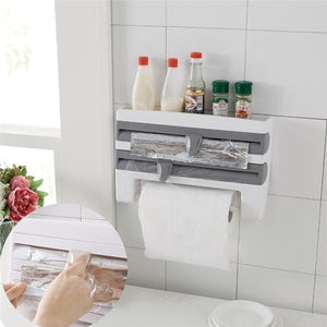 Multifunctional Home Kitchen Film Sauce Bottle Storage Rack Paper Dispenser Preservative Film Rack Kitchen Accessory