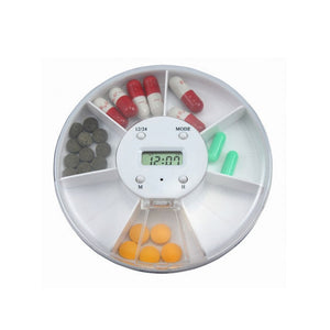 Portablle 7-Compartment Alarm Clock Pill Dispenser Pill Box Electronic Medication Reminder
