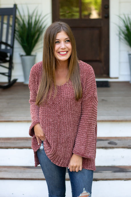 Cozy Up Brick Pink Sweater | Cotton Avenue Boutique