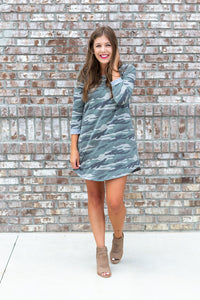 Camo Dress With Pockets - Cotton Avenue