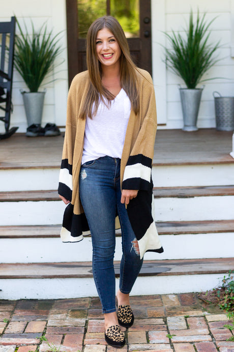 For The Love Of Fall Color Block Cardigan - Cotton Avenue Boutique