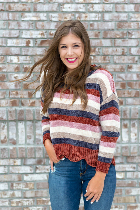 Striped Chenille Sweater - Cotton Avenue