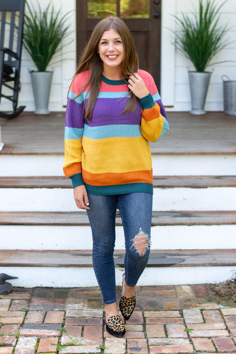 Fall Festival Striped Sweater - Chasing Cinderella Blog