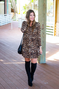 Leopard Print Babydoll Dress - Cotton Avenue Boutique