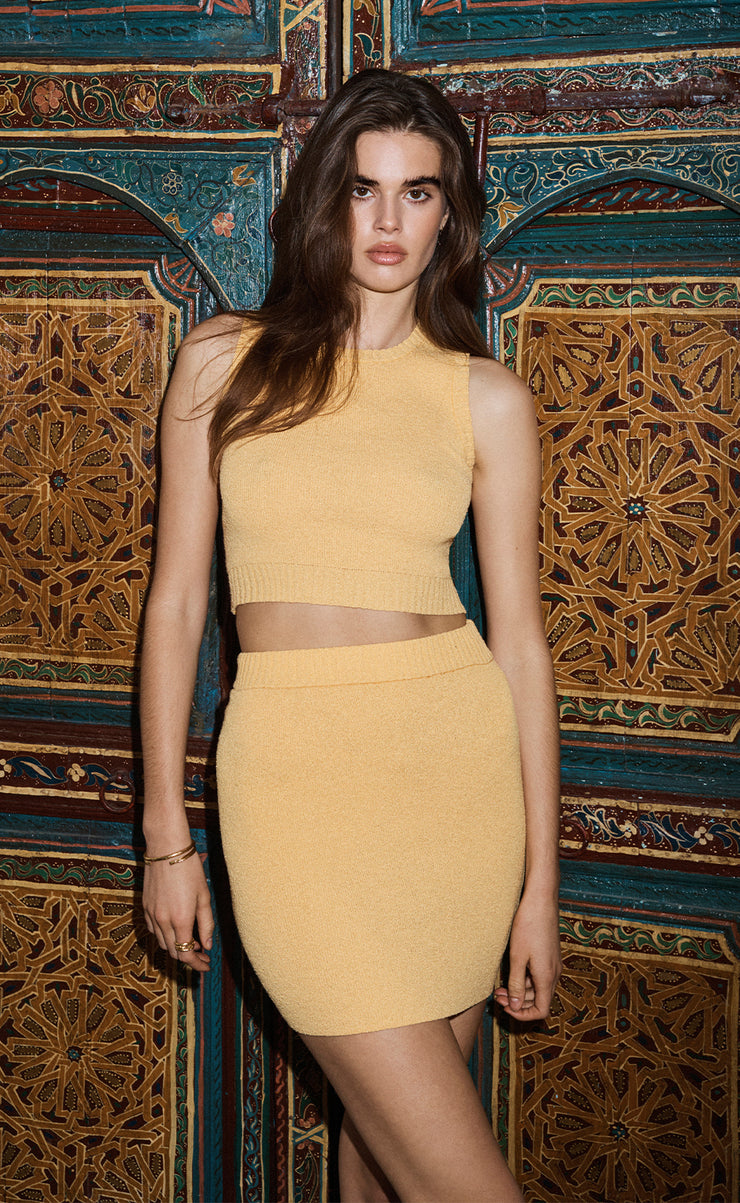 LEMON SQUEEZY KNIT CROP TOP - SUNRAY