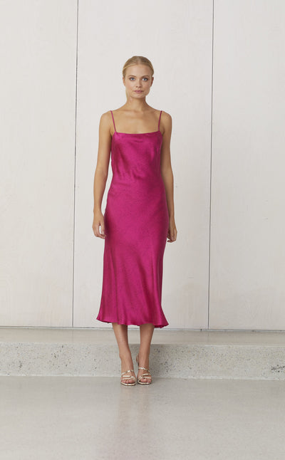 PINK PARTY SLIP MIDI DRESS - FUCHSIA DOT