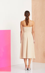 NATHALIE MIDI DRESS - NATURAL