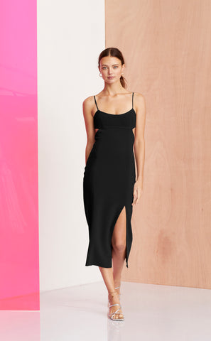 AMELIE PANEL MIDI DRESS - BLACK