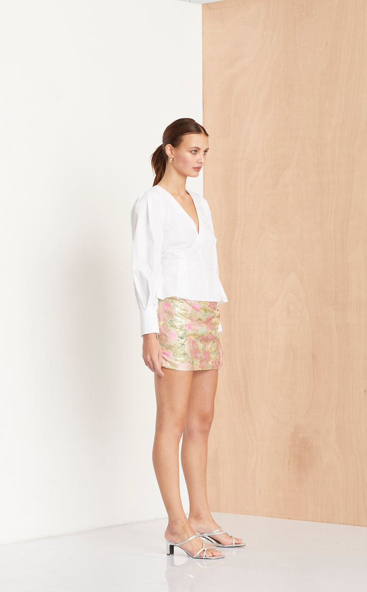 MEET YOU AT THE DISCO SKIRT - SILVER JACQUARD