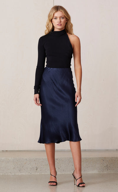 MIDNIGHT DANCE MIDI SKIRT - NAVY