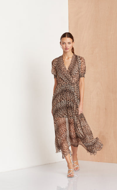 KITTY KAT MIDI DRESS - LEOPARD PRINT
