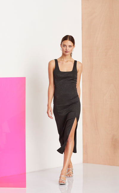 ZE'BRE MIDI DRESS - BLACK
