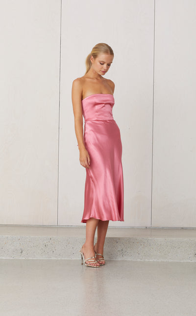 VISION OF LOVE TIE DRESS - ROSE