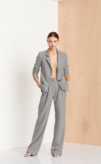 FRENCH LIASON PANT - BLACK HOUNDSTOOTH