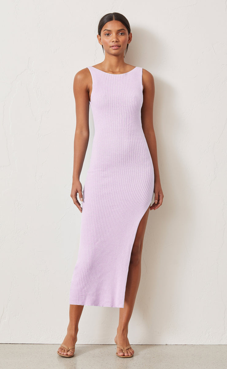 RIVIERA KNIT MIDI DRESS - LILAC