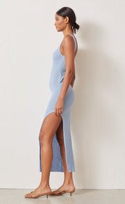 RIVIERA KNIT MIDI DRESS - SKY BLUE