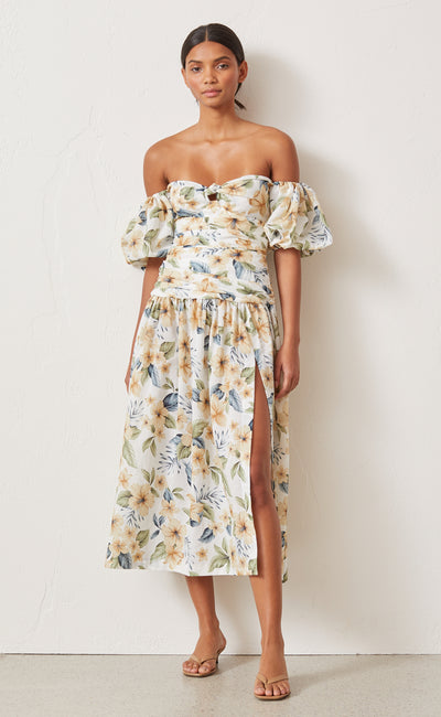 FLEURETTE OFF SHOULDER DRESS - PRINT