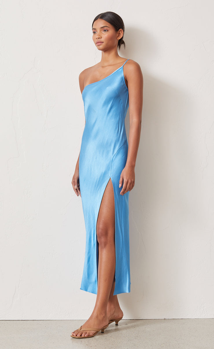 FREDERIC ASYM MIDI DRESS - AZURE