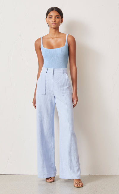 RIVIERA KNIT BODYSUIT - SKY BLUE