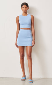 LEMON SQUEEZY KNIT CROP TOP - SKY BLUE
