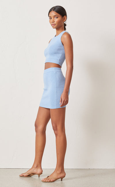 LEMON SQUEEZY KNIT MINI SKIRT - SKY BLUE
