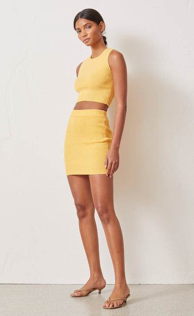 LEMON SQUEEZY KNIT MINI SKIRT - SUNRAY
