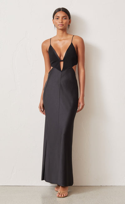SERAPHINE PLUNGE MIDI DRESS - BLACK