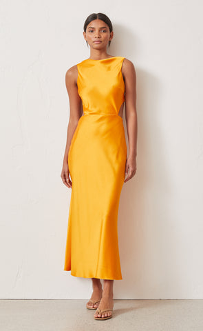 SERAPHINE CUT OUT MIDI DRESS - TANGERINE