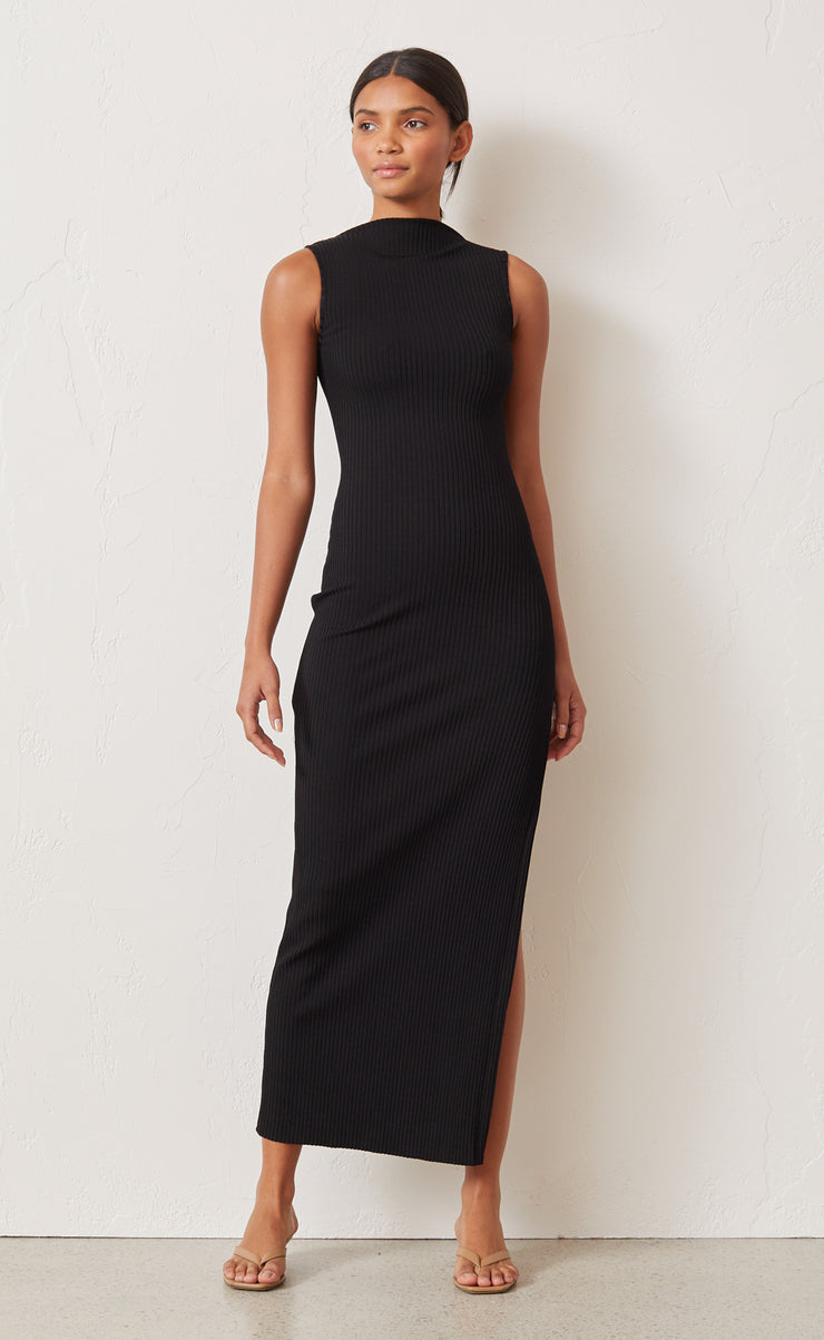 NOIR ET BLANC MIDI DRESS - BLACK