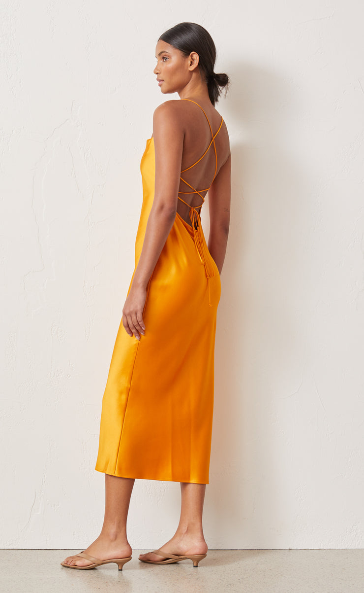 SERAPHINE LACE UP MIDI DRESS - TANGERINE