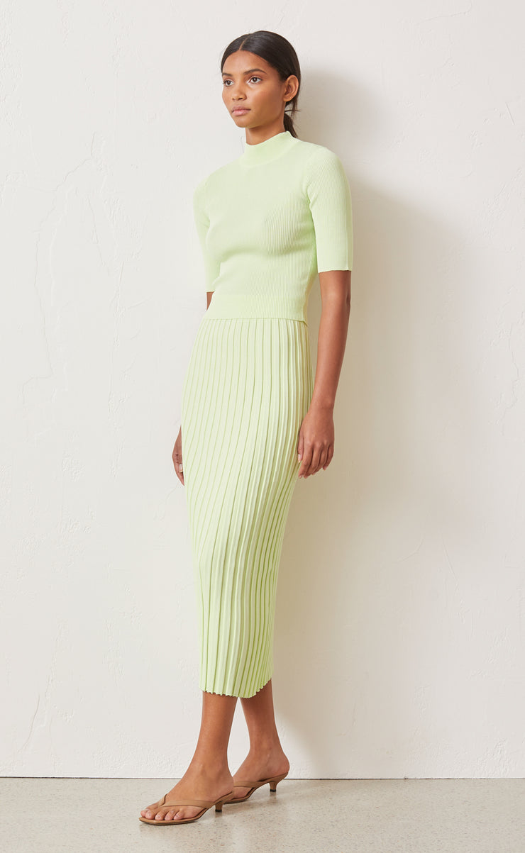 CITRUS CLUB KNIT MIDI SKIRT - KEY LIME