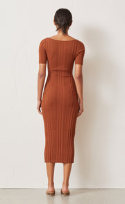 TOULOUSE KNIT MIDI DRESS - BURNT COPPER