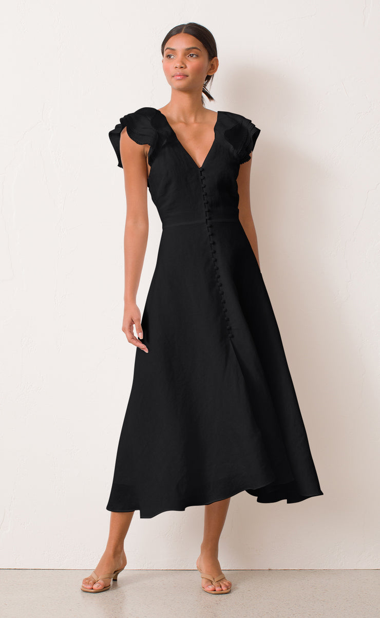 LA FONTELINA MIDI DRESS - BLACK