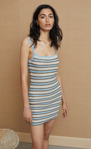 DIXIE KNIT MINI DRESS - LUREX STRIPE