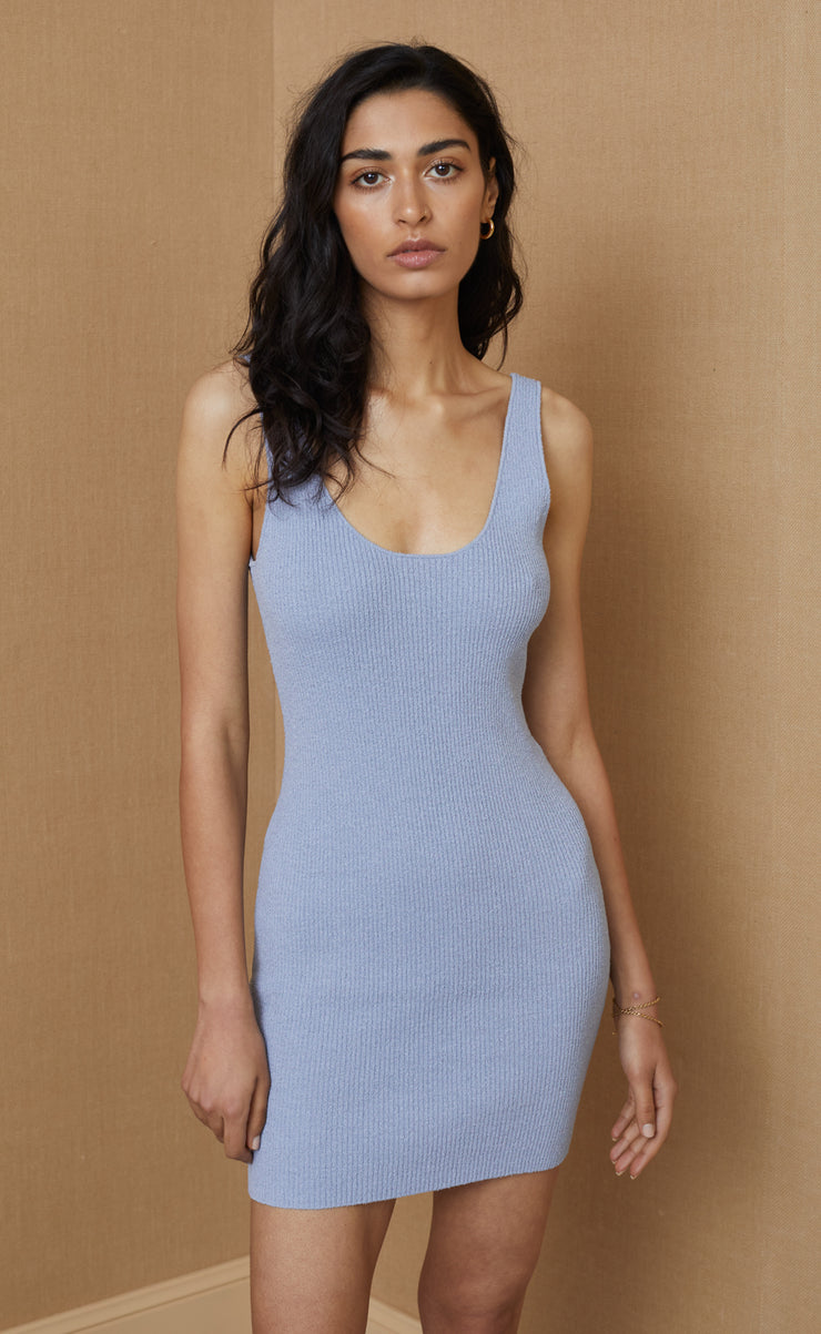 MIMI KNIT MINI DRESS - SILVER BLUE