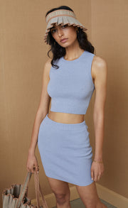 MIMI KNIT CROP TOP - SILVER BLUE
