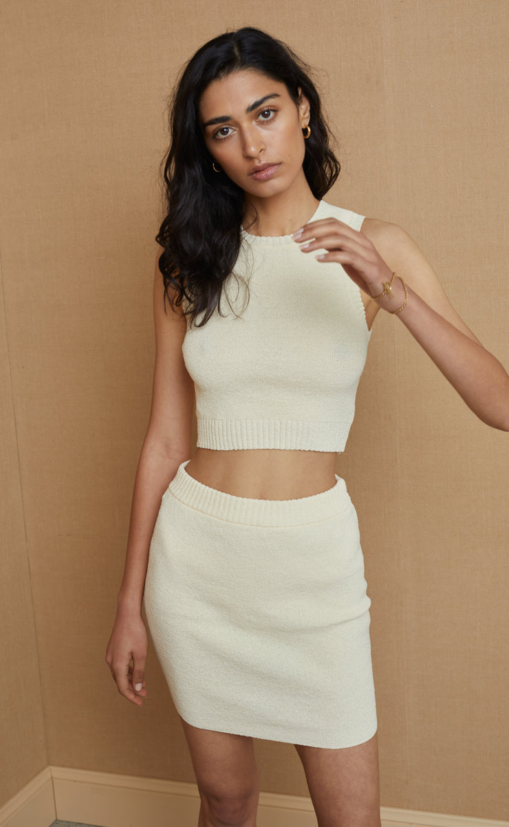 MIMI KNIT CROP TOP - BUTTER