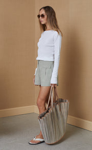 PANTHEON KNIT LONG SLEEVE TOP - IVORY