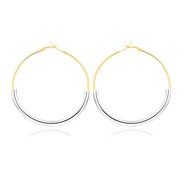 GOLDEN LADY HOOP Earrings  - STERLING SILVER