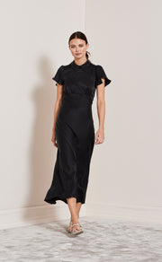 HEARTBEAT COLLAR DRESS - BLACK