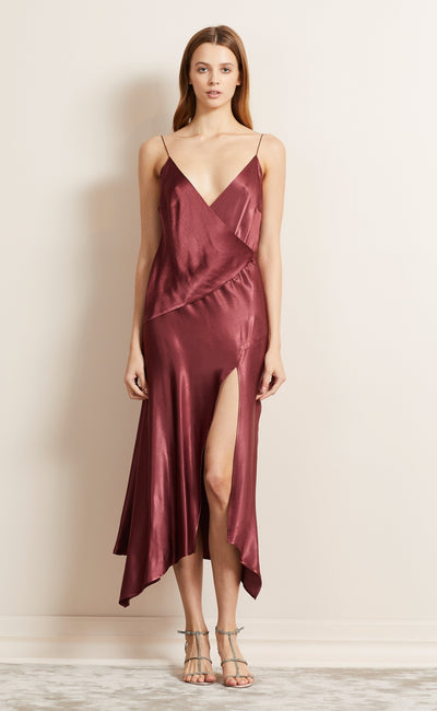 MOON DANCE WRAP DRESS - WINE