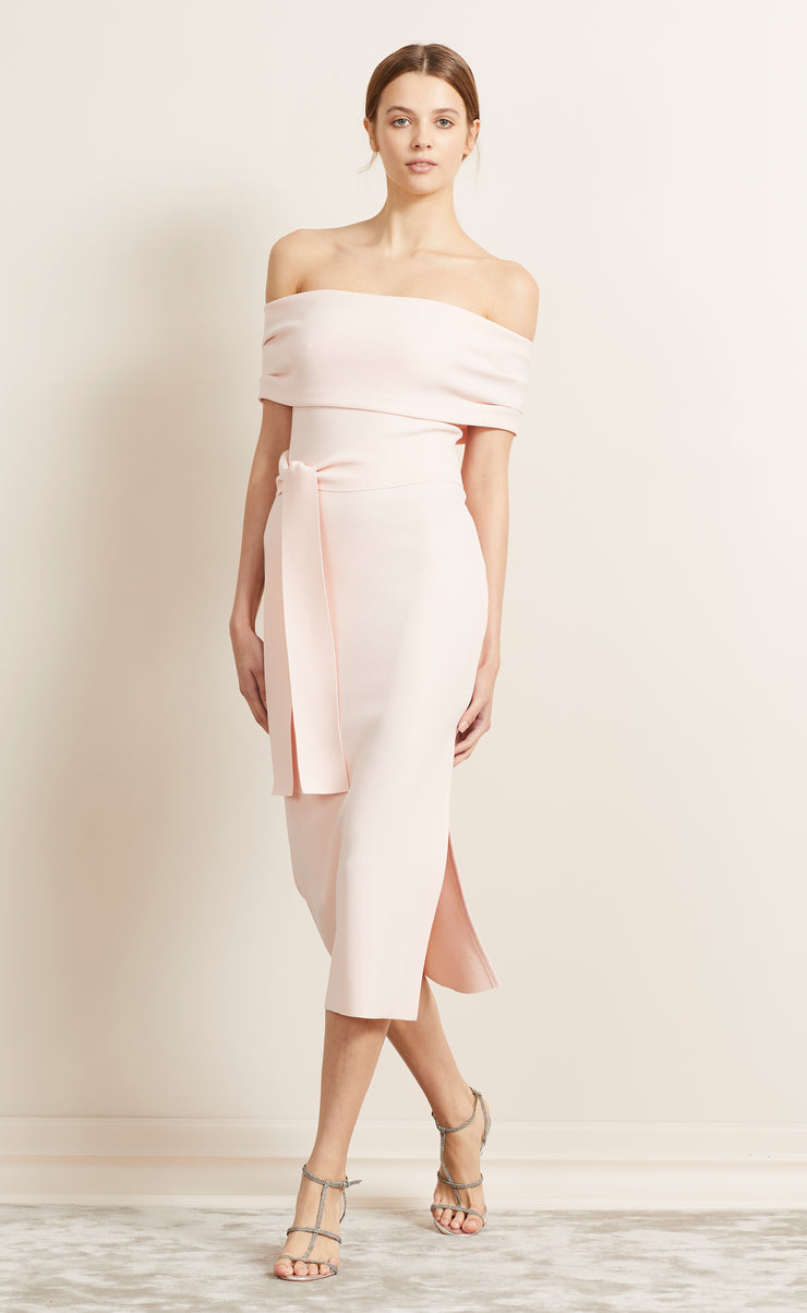 BE MINE OFF SHOULDER DRESS - BLUSH