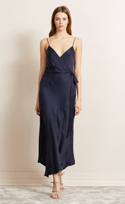 HEARTBEAT WRAP DRESS - NAVY